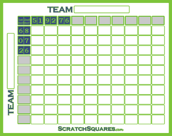 Halftimeline 100 Square Pool Scratch-Off Cards